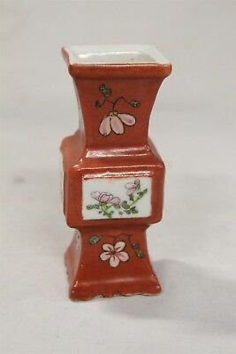 19c Chinese Porcelain 4 Sided Red Flowers 4 Panels Stylized Temple Vase