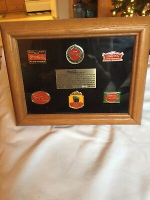Vintage Coca-Cola Pin Set of 6 Limited Edition 3,000 sold by Publix Framed