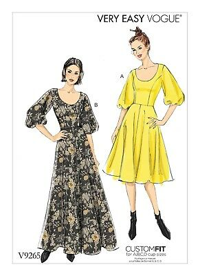 VOGUE EASY SEWING PATTERN V9149 Misses Flared Dress 6-14 Or 14-22 ... 68d1ec335a3e