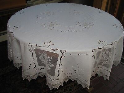 """Antique Linen Lace Tablecloth 70"""" Round Cutwork Embroidery Filet Lace Elegant"""