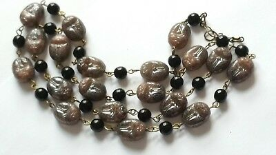 Czech Longer Lustre Scarab Beetle Glass Bead Necklace Vintage Deco Style