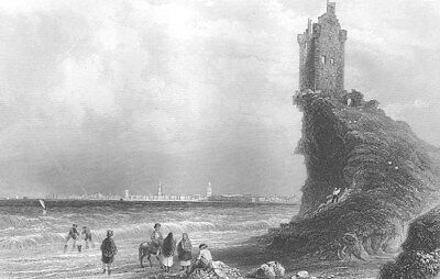 Scotland, AYRSHIRE GREENAN CASTLE TOWER HOUSE RUINS ~ 1837 Art Print Engraving