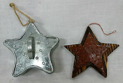 Set of 2 Primitive METAL & WOODEN STAR ORNAMENTS Country Christmas Decor