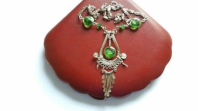 Vintage Green Glass And Silver Metal Pendant Necklace