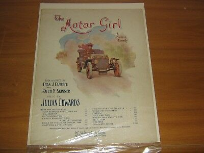 Vintage Sheet Music 1909 The Motor Girl A Musical Comedy
