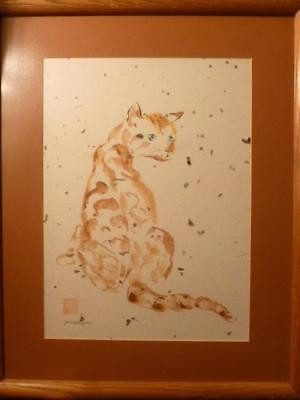 """June Payne Framed 17"""" X 21"""" Water Color Tabby Cat on Hand Crafted Art Paper"""