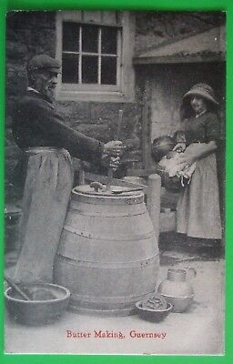 TOZER Postcard POSTED 1934 BUTTER MAKING GUERNSEY