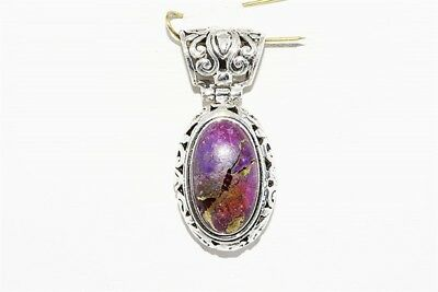 8.50Ct Natural Purple Turquoise Solitaire Dangle Pendant .925 Sterling Silver