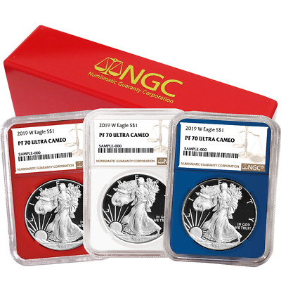 2019-W Proof $1 American Silver Eagle 3pc. Set NGC PF70UC Brown Label Red White