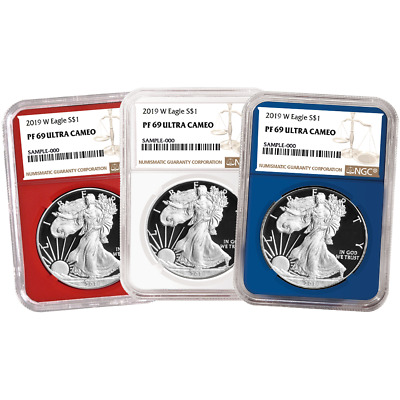 2019-W Proof $1 American Silver Eagle 3pc. Set NGC PF69UC Brown Label Red White