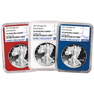2019-W Proof $1 American Silver Eagle 3pc. Set NGC PF69UC Blue ER Label Red Whit