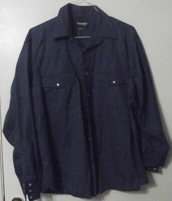 Wrangler Pearl Snap Long Sleeve Shirt Rockabilly Vintage Xl