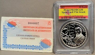 2002 Spain 10 Euro Guell 97th Struck #931348-1 PR69DCAM PCGS Flag With COA