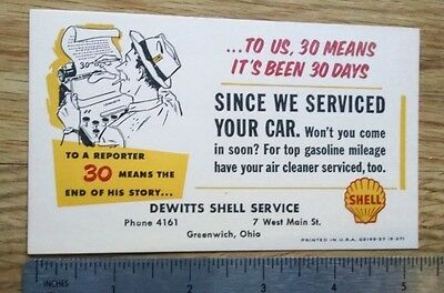 VINTAGE SHELL DEWITTS SERVICE post card nos 1957 GREENWICH,OHIO .03 cent postage