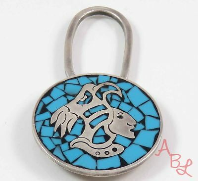 Sterling Silver Vintage 925 Mexican Warrior Blue Turquoise Key Holder 25g 746220