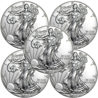 Lot of 5 - 2019 $1 American Silver Eagle 1 oz Brilliant Uncirculated