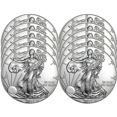 Lot of 10 - 2019 $1 American Silver Eagle 1 oz Brilliant Uncirculated