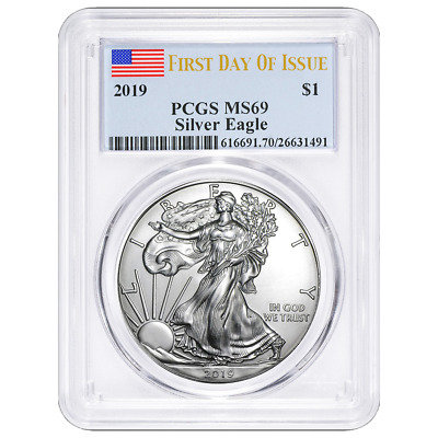 2019 $1 American Silver Eagle PCGS MS69 FDOI Flag Label