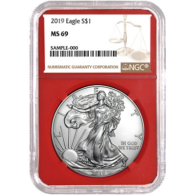 2019 $1 American Silver Eagle NGC MS69 Brown Label Red Core