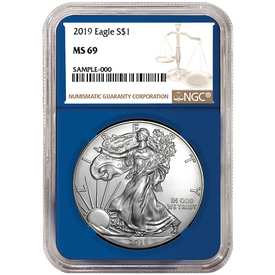 2019 $1 American Silver Eagle NGC MS69 Brown Label Blue Core