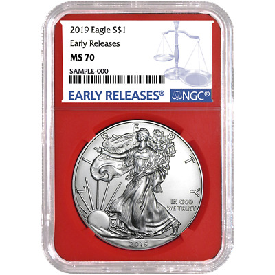 2019 $1 American Silver Eagle NGC MS70 Blue ER Label Red Core