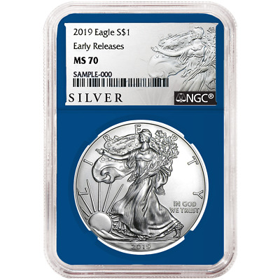 2019 $1 American Silver Eagle NGC MS70 ALS ER Label Blue Core