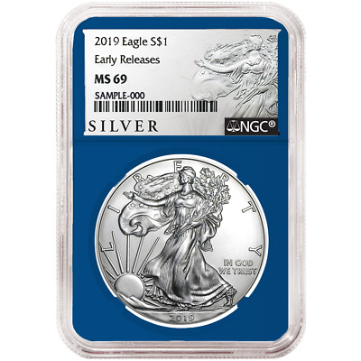 2019 $1 American Silver Eagle NGC MS69 ALS ER Label Blue Core