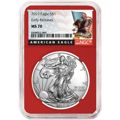 2019 $1 American Silver Eagle NGC MS70 Black ER Label Red Core