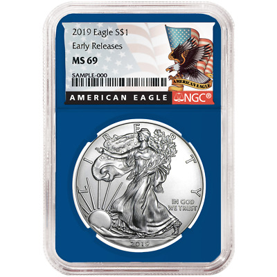 2019 $1 American Silver Eagle NGC MS69 Black ER Label Blue Core