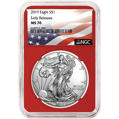 2019 $1 American Silver Eagle NGC MS70 Flag ER Label Red Core