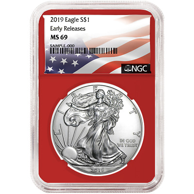 2019 $1 American Silver Eagle NGC MS69 Flag ER Label Red Core