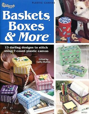 Baskets Boxes & More ~ 13 Styles Gifts & Decor plastic canvas pattern book NEW