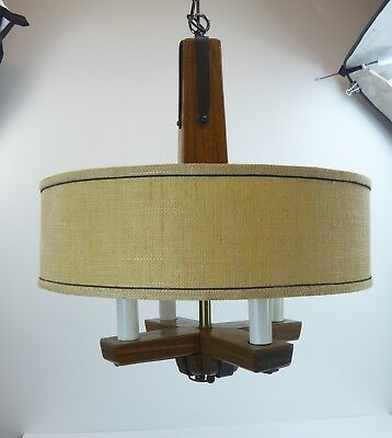 A Brandt Ranch Oak Co Hanging Lamp Chandelier Mid Century Texas Vtg Hand Carved