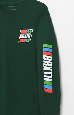 New Brixton Mens Hunter Green Omar II Crew Neck Long Sleeve Tee T-Shirt Sz Large