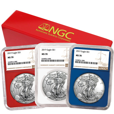 2019 $1 American Silver Eagle 3 pc. Set NGC MS70 Brown Label Red White Blue