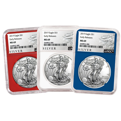 2019 $1 American Silver Eagle 3 pc. Set NGC MS69 ALS ER Label Red White Blue