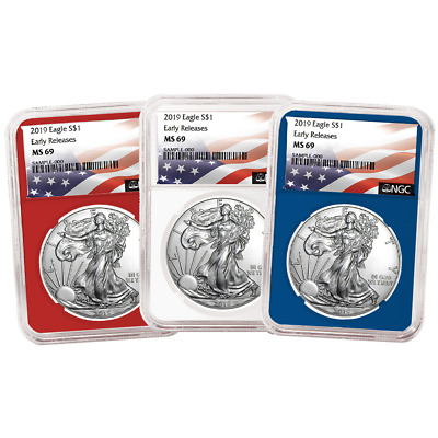 2019 $1 American Silver Eagle 3 pc. Set NGC MS69 Flag ER Label Red White Blue