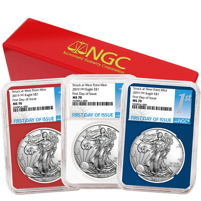 2019 (W) $1 American Silver Eagle 3 pc. Set NGC MS70 FDI First Label Red White B