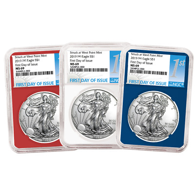 2019 (W) $1 American Silver Eagle 3 pc. Set NGC MS69 FDI First Label Red White B
