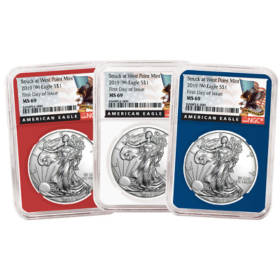 2019 (W) $1 American Silver Eagle 3 pc. Set NGC MS69 FDI Black Label Red White B