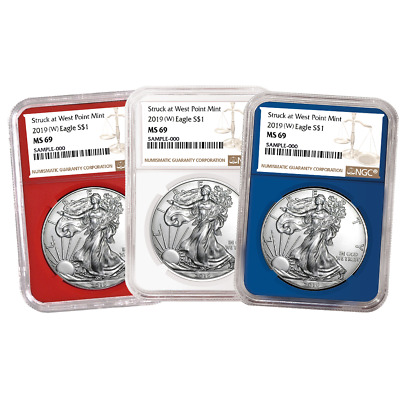 2019 (W) $1 American Silver Eagle 3 pc. Set NGC MS69 Brown Label Red White Blue