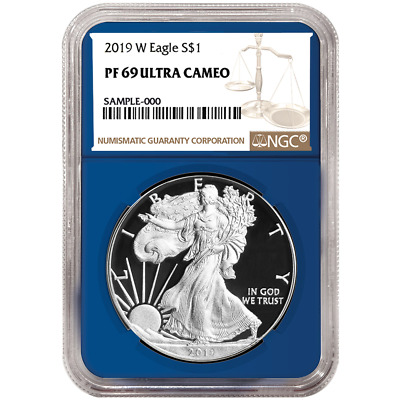 2019-W Proof $1 American Silver Eagle NGC PF69UC Brown Label Blue Core