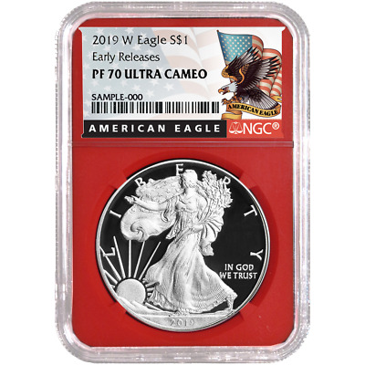 2019-W Proof $1 American Silver Eagle NGC PF70UC Black ER Label Red Core