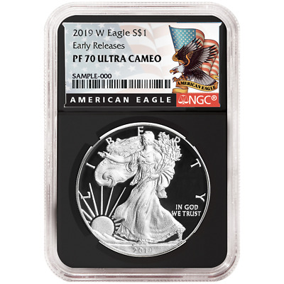 2019-W Proof $1 American Silver Eagle NGC PF70UC Black ER Label Retro Core