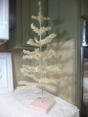 Pink Shabby Feather Christmas Tree~Pink Wood Base~Silver Trunk~Hand Made~Cute~!