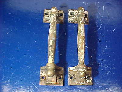PAIR Early 20thc BRONZE Architectural DOOR PULL HANDLES