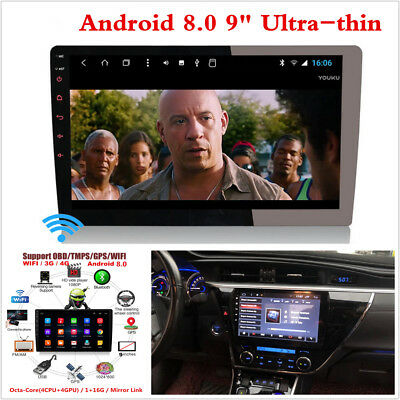 "9"" Android 8.0 Touch Screen 2Din Octa-Core Car Stereo Radio GPS Wifi Mirror Link"