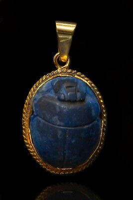 VINTAGE EGYPTIAN SCARAB Beetle LAPIS LAZULI GOLD PLATED 21K Pendant NECKLACE Vk