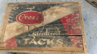Old Vintage Cross Tacks Wooden Shipping Crate Box Rustic Decor Diy Project Wood