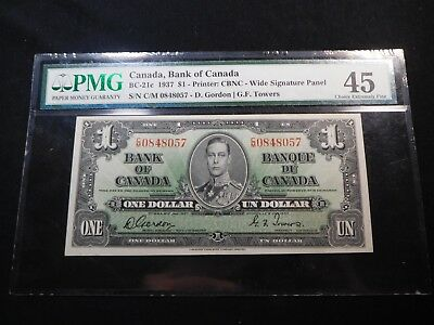 R9 Canada, Bank of 1937 $1 BC-21c S/N C/M-0848057 Wide Sig. PMG Choice EF-45